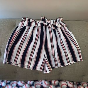 Navy, Red, and Cream Striped Shorts